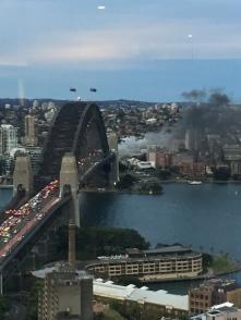 Sydney Harbour Bridge, with a bus on fire